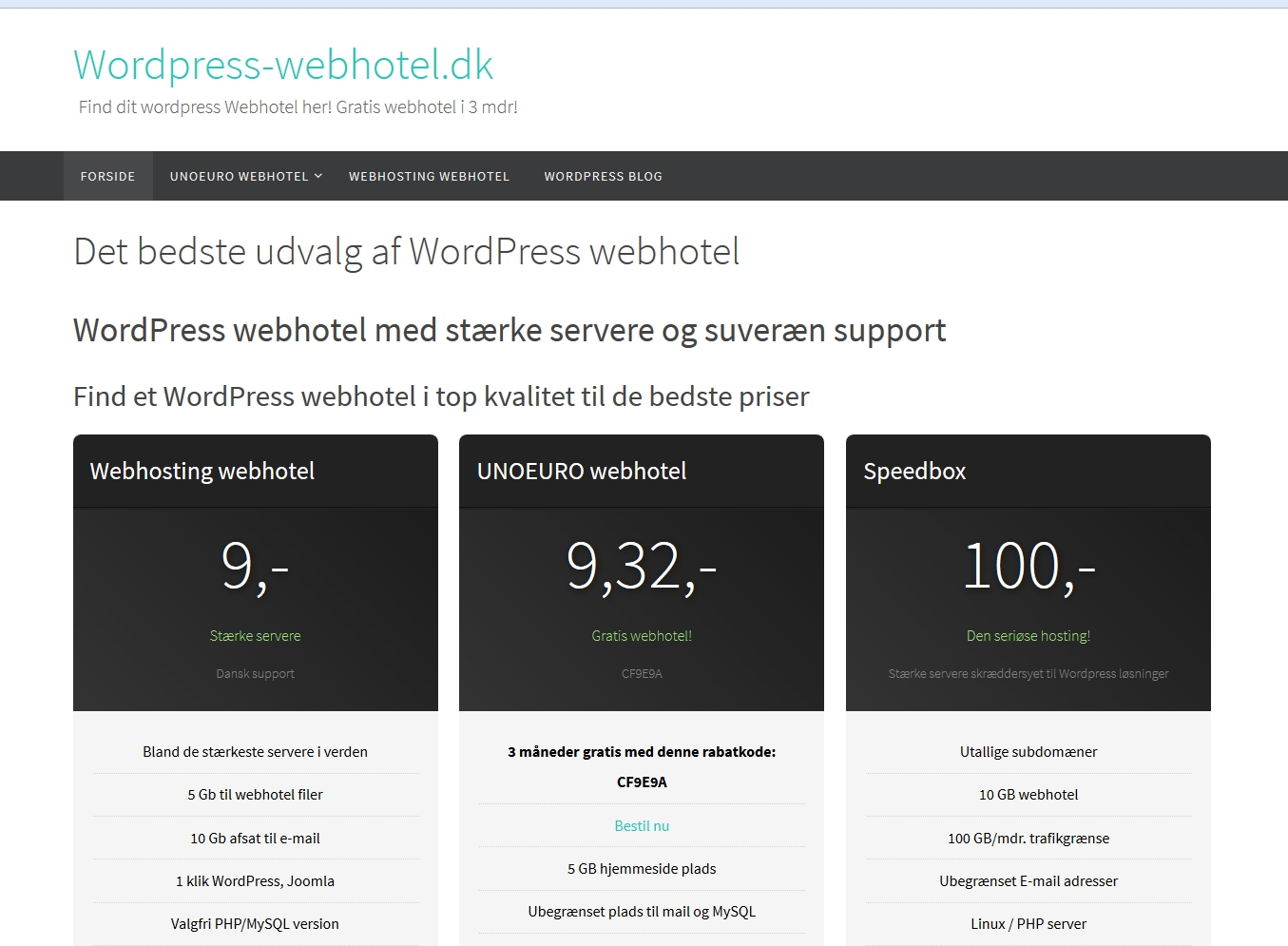 Detaljer : Wordpress webhotel